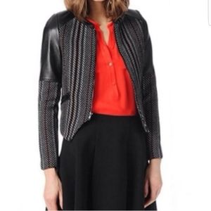 Parker Tweed and Lambskin Leather Trim Jacket
